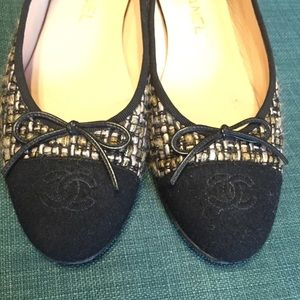 CHANEL Shoes - Chanel tweed flats 39.5 gently used